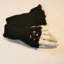 Pulswärmer mit gehäkelter Spitze schwarz