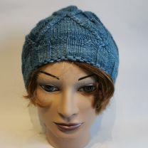 Merino-Seide-Mütze handgestrickt blaumeliert